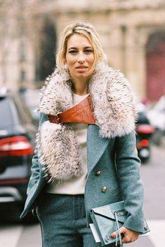 Alexandra Golovanoff wearing Bouchra Jarrar during Paris Fashion Week, A/W 2012 (Vanessa Jackman) // Fashion Trends // Style Fur Fashion, Fashion Details, Look Fashion, Paris Fashion, Womens Fashion, Street Fashion, Fashion Models, Jackets Fashion, Leather Fashion