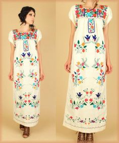 Traditional Mexican Dress. This and my Jean jacket, MUST find one this length!
