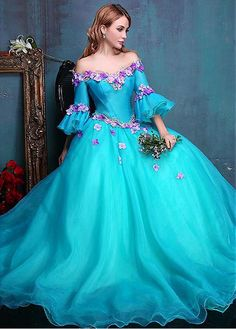 Buy discount Attractive Organza Off-the-shoulder Neckline Ball Gown Quinceanera Dresses With Handmade Flowers & Embroidery at Dressilyme.com