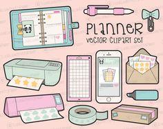 Premium Vector Clipart  Kawaii Planning by LookLookPrettyPaper