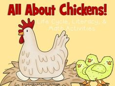 All About Chickens Life Cycle and Subtraction Activities, Math Activities, Chicken Life, Cvc Words, Cut And Paste, Spring Is Here, Graphic Organizers, Life Cycles, Phonics