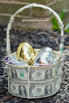 Bucket full of money filled easter eggs a cute money gift idea are you looking for a unique money gift basket that is inspired to strike your creativity negle Image collections