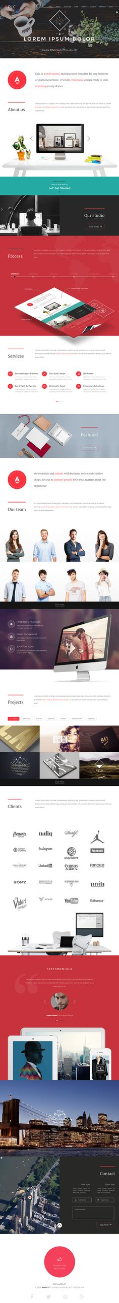 EPIC - Responsive Multi-Purpose Theme for Wordpress. Ui design concept and developing by Web Create.Me on Behance.