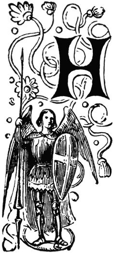 Decorative Letter H with Angel Holding Spear and Shield