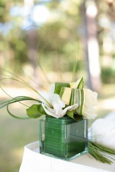 Post-wedding brunch flower arrangement.  Green and white.  Photos by Landon Jacob Productions/ Spencer Special Events