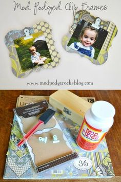 Learn how to make DIY clip frames using wood shapes and clips! Decorate with your favorite papers and Mod Podge. Great for birthday, for wedding, or for baby shower. Such an EASY project for kids or for adults.