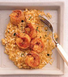 Fried Cornmeal Shrimp with Butternut Squash Risotto Recipe | Epicurious.com