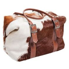 Cowhide Overnight Bag / Weekend Bag in Brown and White. Made in Australia. Available at www.seasonsemporium.com