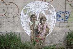 """New Swoon pieces have been popping up around Brooklyn and they are a stand out among all the amateur attempts at """"street art"""" you become desensitized to seeing. As usual, this piece is highly intricate in its cuts and line work."""