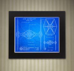 Star Wars Blueprint Style - Tie Fighter: 8 x 10 print by KnerdKraft on Etsy