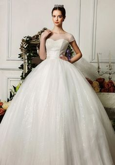 Robe de Mariée Simple-Dulcinée Encolure Dégagée Perles Manches Courtes Robe…