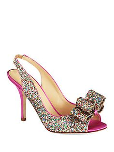 Kate Spade New York Charm Satin and Glitter Leather Slingback Pumps