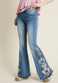 c0ba282b73b Driftwood The Joy of Embroidery Flared Jeans in Stone Wash