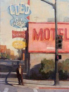 Terry Miura painting, Red Light (Coed Lodge) Vacancy, Motel, Man on Street Corner), 16x12, oil on linen