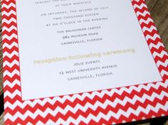 Oh So Beautiful Paper: Camille + Andrew's Red Chevron and Linen Wedding Invitations