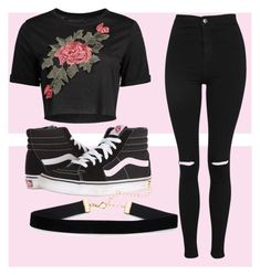 """Floral Crop Top w/ Vans"" by llstaytruell on Polyvore featuring Topshop and Vans"