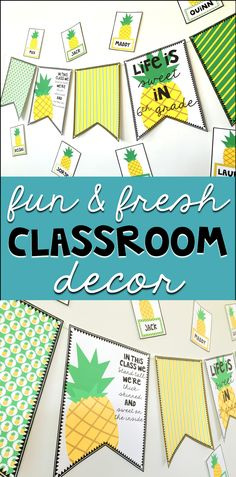 When you need something fun, fresh, and low-prep, this classroom decor set is just the perfect thing! It comes with ready-to-print banner pages that you can customize with the exact phrasing you'd like. It also comes with 36 different pineapple tags you can customize and put your students' names on, with the font you choose. It's pineapple-fabulous!