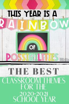 The best classroom themes for your elementary class this year including colorful rainbow, cactus and camping theme. Tons of inspiration to make the theme come to life!  These are perfect for preschool, kindergarten as well as the older students.  #classroomthemes Preschool Classroom Decor, Classroom Images, Classroom Jobs, Preschool Kindergarten, Classroom Organization, Classroom Management, Rainbow Bulletin Boards, Cute Bulletin Boards
