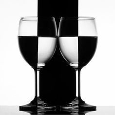 Wine glass art.Black and white