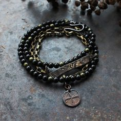 Joy  runic inscription bracelet spiral amulet wrap bracelet