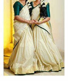 Maid of honour Set Saree, Half Saree Lehenga, Lehnga Dress, Kasavu Saree, Anarkali, Kerala Saree Blouse Designs, Half Saree Designs, Lehenga Designs, Kerala Engagement Dress