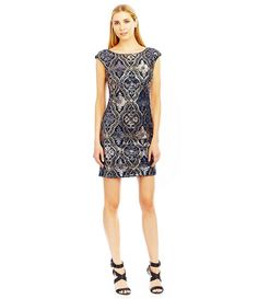 Nicole Miller New York Sequin Trellis Open Back Dress