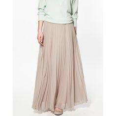 Zara Maxi Pleated Skirt ($60) found on Polyvore