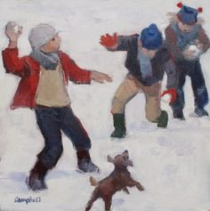 Catriona CAMPBELL - Snowball Fight - Oil 12 x 12 inches// I love this artist's ability to capture the ferver in a childhood moment.