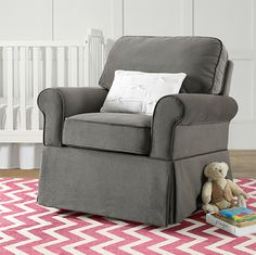 The Baby Relax Eva Rocker in graphite gray is a great addition to your nursery room. The solid wood espresso finished feet and sturdy construction will make this rocker a family favorite for years to come!
