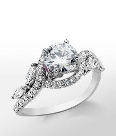 Monique Lhuillier Floral Diamond Engagement Ring in Platinum -- With a Pear Center Diamond perhaps?