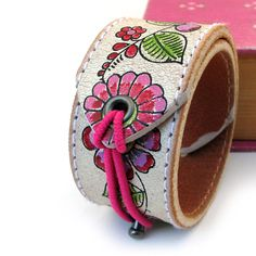 Sweet Flower Leather Cuff Bracelet with Elastic Closure, EcoFriendly, Womens Accessories. $20.00, via Etsy.