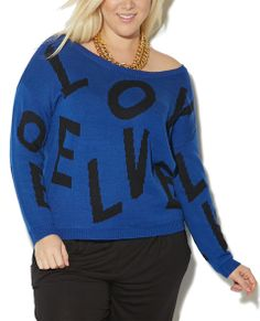 """Spell it out, and cozy up with this rad pullover sweater, featuring a  scattered letters knit body, scoop neck, and ribbed trim.   Model is 5'9"""" and wears a size 1XL.      100% Acrylic     Machine Wash     Imported"""