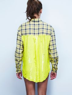 When I first saw this, I thought, what if: the sequins were dried fluro yellow paint drips. Thick layer of paint drips sliding down the back below the yoke of the shirt?