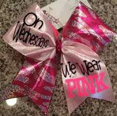 """On Wednesdays we Wear PINK"" Pink and Silver Zebra with Silver Mystique Cheer Bow"