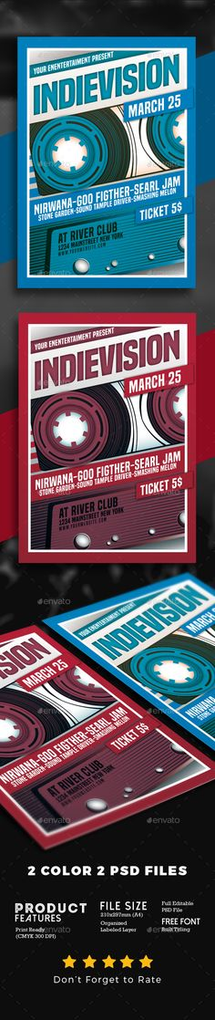 Indie Rock 90's #Music - #Events #Flyers Download here: https://graphicriver.net/item/indie-rock-90s-music/19511586?ref=alena994