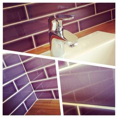 Amethyst brick / crackle glaze / Iroko wood = absolutely stunning #slwallsandfloor #sdbtilingltd #lb_interiors