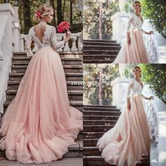 Western Country Garden Long Sleeves Wedding Dresses Backless Deep V Neck Lace Blush Tulle Chapel Train A-Line 2016 Plus Size Bridal Gowns