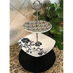 cakestandsgallery - Three Tier Cake Stand Black & White  $35.00