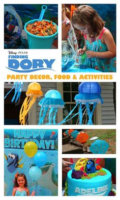 Finding Dory Birthday Party with decorations, food ideas, crafts and games. A…