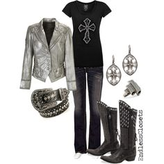 Studded cowboy boots and leather jacket