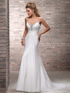 Chiffon A-line Floor Length Wedding Dress with V-neck and Spaghetti Straps