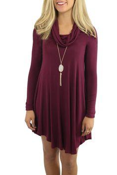 5b47700ee2cb19 Linhuier Womens Long Sleeves Cowl Neck Casual Plain Swing TShirt Loose Dress  Wine RedXL