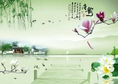 China Southern Spring Scenery Chinese Style Wall Mural, 7-Feet 8-Inch By 5-Feet 6-Inch - Amazon.com