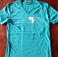 Ethiopia Adoption Tahiti Blue Vneck Tshirt T-shirt - Five Million Minus One