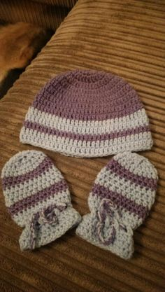 baby beanie and mits - Crochet creation by maggie craig