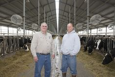 Dan Harskamp, North West REC energy and ag advisor, (left) and Darin Dykstra stand in a dairy barn outside of Le Mars, IA. With more than 3,000 head of cattle, Dykstra Dairy provides milk directly to Wells.