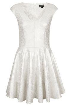 Foil Bonded Lace Skater Dress