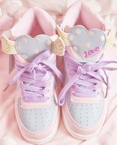 winged heart pastel sneakers Im actually not into this style of shoes but these are really cute!!!