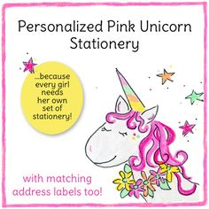A pretty pink unicorn with a rainbow horn and a daisy wreath around her neck is featured on this folded note stationery. Add her name in any font of your choice. Kids Stationery, Personalized Stationery, How To Fold Notes, Christmas Unicorn, Unicorn Invitations, Cool Fonts, Kid Names, Card Sizes, Horn
