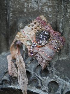 Fleurbonheur - Talisman, tribal influenced romantic wrist wrap from antique lace, nuno felt, seashore stone